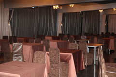 Inner Vista of modern restaurant. Hotel Dining Restaurant. Picture of european restaurant interior one table. Inner Vista of modern restaurant. Interior design Stock Photo