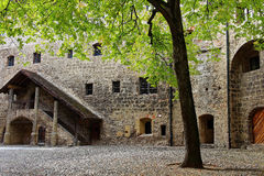 Inner courtyard of main castle Burghausen at fall Royalty Free Stock Images