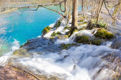 Inner Waterfall in Plitvice. Long exposure photo of a waterfall Royalty Free Stock Photo