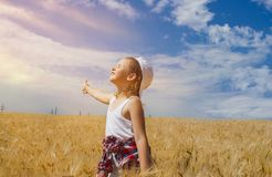 Inner world of the child . Meditation as way of life . Royalty Free Stock Photography