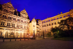 Inner yard of Heidelberg castle during night stock photos