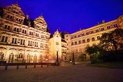 Inner yard of Heidelberg castle during night Stock Photos