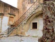 The Inner Yard of Historic Arkadi Monastery in Rethymnon, Crete island Stock Images