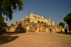 Inner yard of monastery,Myanmar. Royalty Free Stock Images