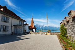 Inner yard of Oberhofen with flag Royalty Free Stock Photography
