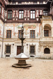 Inner yard of Peles Castle from Sinaia, Romania Royalty Free Stock Images