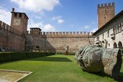 Inner yard of Verona old castle Stock Photo