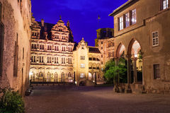 Inner yard view of Schloss Heidelberg at night stock photography