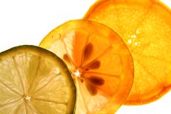Inner zest. Orange, Lemon and Lime thinly sliced and backlit stock photo
