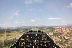 Innere Ansicht in ein Segelflugzeug lizenzfreie stockbilder