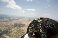 Innere Ansicht in ein Segelflugzeug Stockfotos