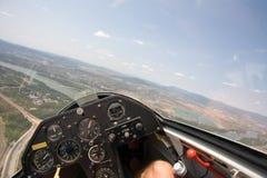 Innere Ansicht in ein Segelflugzeug lizenzfreies stockbild