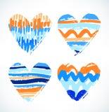 innere Aquarell gezeichnetes Symbol der Liebe Dekorative gestreifte Herzen mit verschiedenen Anschlägen stock abbildung
