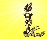 Innere Freiheit: Tätowierungsdesign der Hand lodernde Freiheitsfackel halten Stockfoto