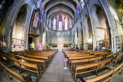 Innere Kirche Santa Maria del Pi, Barcelona Stockbilder