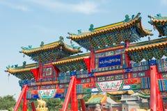 INNERE MONGOLEI, CHINA - 13. August 2015: Paifang bei Xilitu Zhao Temple Stockfotografie