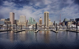 Innerer Hafen-im Stadtzentrum gelegene Skyline Baltimore-Maryland Stockfoto