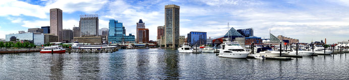 Innerer Hafen Marina Cityscape Baltimores Maryland lizenzfreie stockfotos