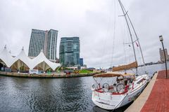 Innerer Hafen mit Potapsco-Fluss, Baltimore, USA stockfoto