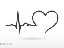 Innerer Schlag cardiogram Herzaktion Medizinische Ikone Stockfotos