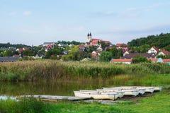 Innerer See in Tihany mit Booten, Ungarn Stockbilder