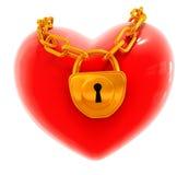 Inneres des roten Valentinsgrußes mit geschlossener Goldverriegelung Lizenzfreie Stockfotos