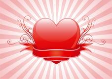 Inneres des Valentinsgrußes Stockbild