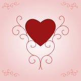 Inneres des Valentinsgrußes auf rosafarbener Steigung Stockbild