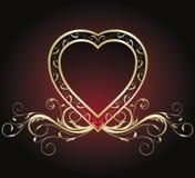 Inneres des Weinlese-Valentinsgrußes Stockbild