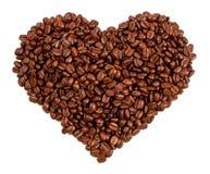 Inneres gebildet von den Kaffeebohnen in einem weißen Hintergrund Stockfotografie