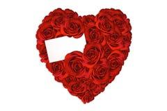 Inneres gebildet von den Rosen mit unbelegter Karte für eine Liebe Mes Lizenzfreies Stockfoto
