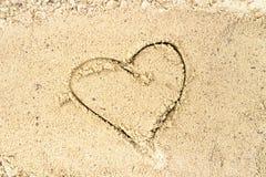Inneres gezeichnet in den Sand Kamm-MuschelSeashell auf Rosa Beschneidungspfad eingeschlossen Stockbild