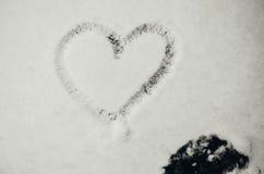 Inneres gezeichnet in den Schnee Stockbilder