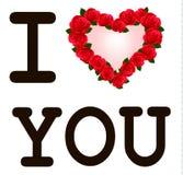 Inneres mit Rosen ich liebe dich. Vektor Stockbilder