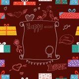 Inneres mit Schwänen auf Retro Hintergrund Verschiedene Farbgeschenkboxen Lizenzfreie Stockbilder