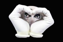 Inneres und Augen des Pantomimen lizenzfreie stockfotos