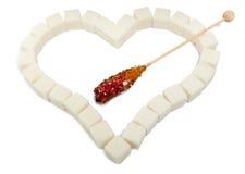 Inneres von den Würfeln des raffinierten Zuckers und vom Süßigkeitzucker Stockfoto
