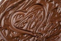 Innerform gebildet von geschmolzener Schokolade Stockfoto