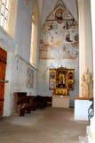 Innerhalb der lutherischen Kirche Ansicht der mittelalterlichen Stadt Sighisoara Lizenzfreie Stockfotos