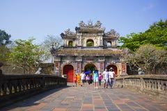 Innerhalb der Zitadelle Kaiserverbotene stadt Kaisereinschließung Farbpalast Farbe, Vietnam Stockfoto