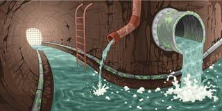Innerhalb des Abwasserkanals.