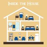 Innerhalb des Hauses Flaches Artvektorillustrations-Hausschattenbild mit Möbeln Stockfoto