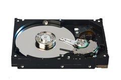 Innerhalb des internen Festplattenlaufwerks HDD auf weißem Hintergrund Lizenzfreie Stockfotografie