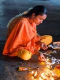 Innerhalb des Menakshi-Tempels Madurai Stockfotos