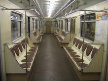 Innerhalb des modernen Untergrundbahnautos Stockfoto