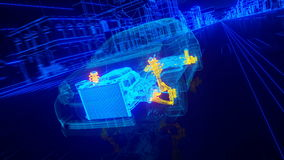 Innerhalb des Motor- Drahtüberblickgetriebes Maschine, Suspendierung, Räder Stockfotos