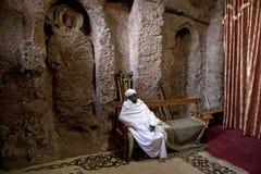 Innerhalb einer monolithischen Kirche Lalibela Lizenzfreie Stockfotos