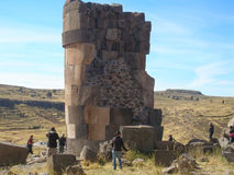 Innerhalb eines Chullpa alter Aymara Funerary Tower, Sillustani-Beerdigungs-Bereich, Peru Lizenzfreies Stockbild