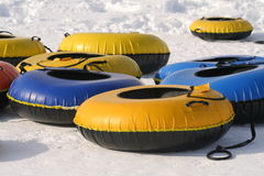 Innertube sleds Royalty Free Stock Photos