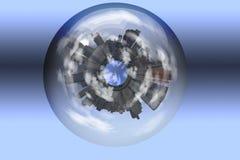inneslutad glass sphere för stad Arkivfoton